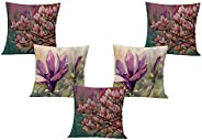 STITCHNEST Floral Pink Flower Printed Canvas Cotton Cushion Covers, Set of 5 (18 x 18 Inches)