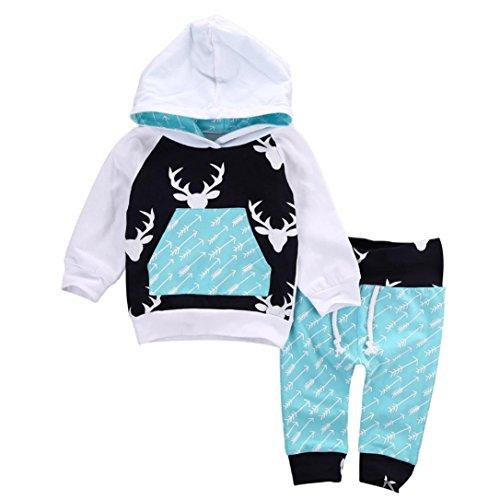 Baby Strampler Hirolan Neugeboren Babykleidung Säugling Baby Junge Mädchen Hirsch Pfeil Kapuzenpullover Lange Hülse Tops Täglich Hose Mode Outfits Kleider Set (80cm, Blau) (Säuglings-baby-strampelanzug)