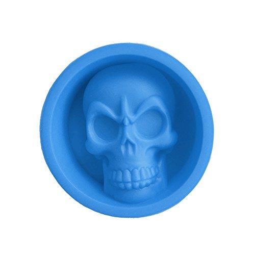 display08Halloween Party 3D Totenkopf Silikon Kuchen Pudding Schokolade Ice Tablett Form Werkzeug blau