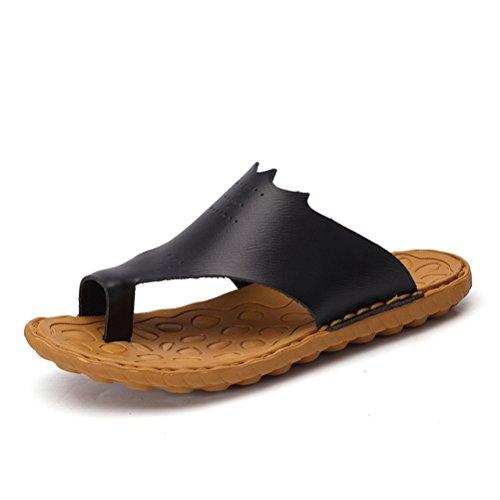 Sommer Herren Slip On Daumenschutz Einfache Slippers Zehentrenner Lässige Gummi Sohle Anti-Rutsch Strand Sandalen Schwarz