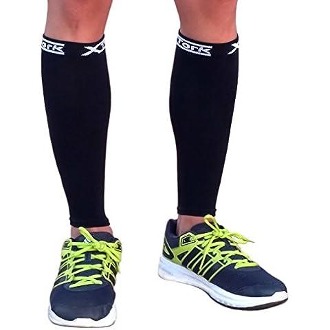 Medias de compresion unisex negro, alivio de dolores, recuperación más rápida, evita la fatiga. Calcetines para Running, Cycling, Triathlon