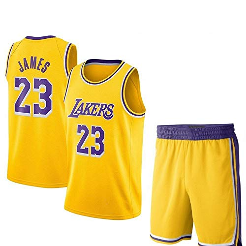 Lebron James # 23 Herren-Basketballtrikot - NBA Lakers, New Fabric Embroidered Swingman Jersey und Shorts Sleevless T Shirts Yellow-XL - Xl Lacrosse Shorts