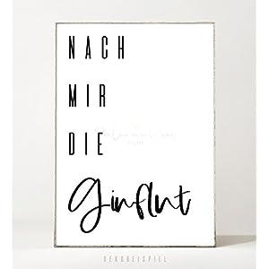 Kunstdruck / Poster GINFLUT -ungerahmt- Typografie, Schrift, Text, Spruch, Gin, Bild, Küche