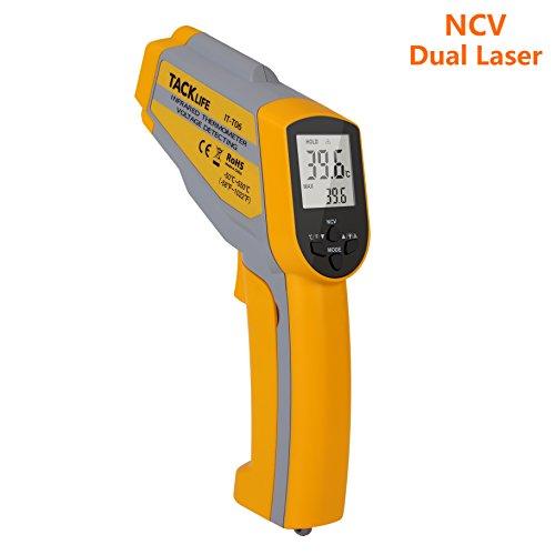 Tacklife IT-T06 Advance Digital Infrarot Thermometer Berührungsloses Dual Laser Thermometer -50°C~550°C mit Non-Contact Voltage(NCV) , einstellbarem Emissionsgrad & Max Lesen