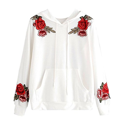 Hoodie Pullover Damen Btruely Frau Herbst Embroidery Applique Hoodie Sweatshirt Mode Langarm Damen Causal Tops (S, Weiß) (Applique Hoodie)