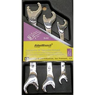 Alden Wrench 56038 Double Head Ratching Open-End Wrench, 3 Piece Set, SAE
