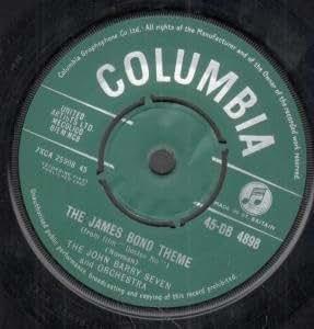 "JAMES BOND THEME 7"" (45) UK COLUMBIA 1962 GREEN/SILVER LABEL DESIGN B/W THE BLACKSMITH BLUES (45DB4898) FACTORY SAMPLE STICKER ON LABEL"