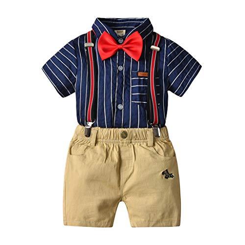 WINLISTING Kleinkind Baby Boy Kinder Gentleman Streifen Bogen Tops t-Shirt Kurze Hosen Outfits Set Britisches Herren-Set mit kurzen Ärmeln (Blau, 90) (Fußball-ärmel Kid)