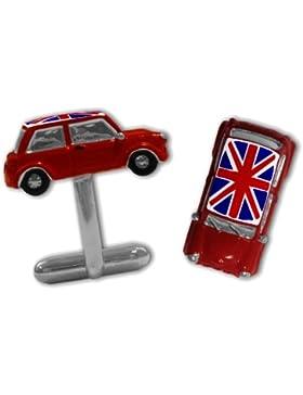Manschettenknöpfe, 3D-Optik, Mini mit Union Jack, Rot