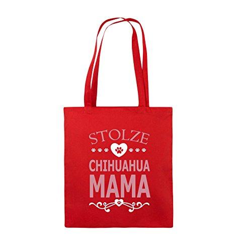 Borse Commedia - Orgogliosi Chihuahua Mama - Cuore - Juta - Manico Lungo - 38x42cm - Colore: Nero / Bianco-rossa Al Neon / Bianco-rosa