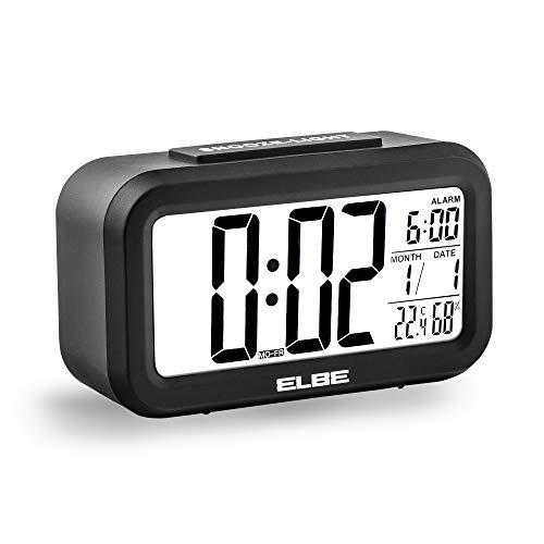 """Elbe RD668N - Reloj Despertador de Viaje Gran Pantalla LCD de 4.4"""", Temperatura y Humedad, Alarma, Calendario, función Snooze, Pantalla 12/24 Horas, Color Negro"""