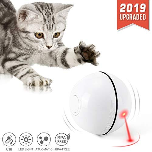 Katzenspielzeug Ball mit LED-Licht, selbstdrehender 360-Grad-Ball, wiederaufladbares interaktives USB-Katzenspielzeug, zur Stimulierung des Jagdtriebs Lustiges Jäger-Spielzeug [2019 aktualisiert]