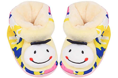 Ole Baby Multicolor Smile Face Plush Soft Organic 3d Ole Toons First Walking Shoes With Rubber Sole 0-6 Months