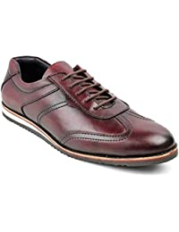 tresmode Men's Wine Casual Leather Lace ups