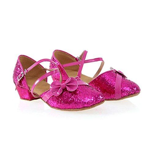 Chaussures Professionnel Latin Femme Fille Sandales Satin Haute Salsa / Ballroom Chaussures De Danse Med (autres Couleurs) Rose