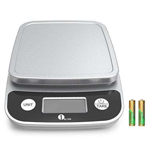 1byone Báscula digital de cocina, Pantalla LCD precisa, multifunción con rango de 1gramo a 5 kilogramo, Elegante Negro