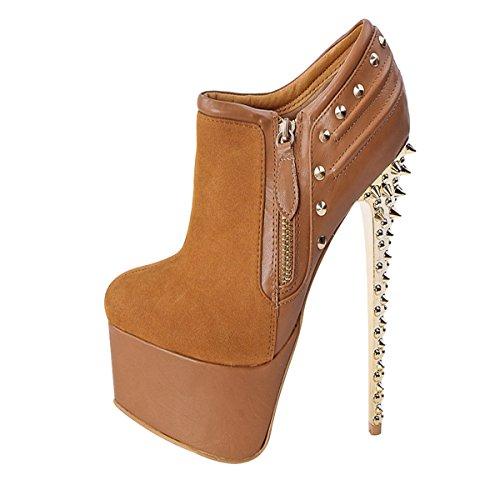 Onlymaker Damen High Heels Stoeckelschuhe Cap-Toes Reissverschluss Knoechelstiefel Gelb