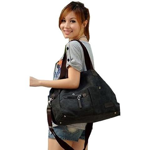 Grande borsa di tela denim Fabulous in colore nero, grigio, verde e beige lavato