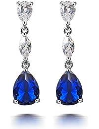 e20799b93403 Pendientes Pendientes Colgante Moda Simple Exquisito Azul Temperamento  largo Borla Estilo Marino Pendientes Corazón Circón Pendientes