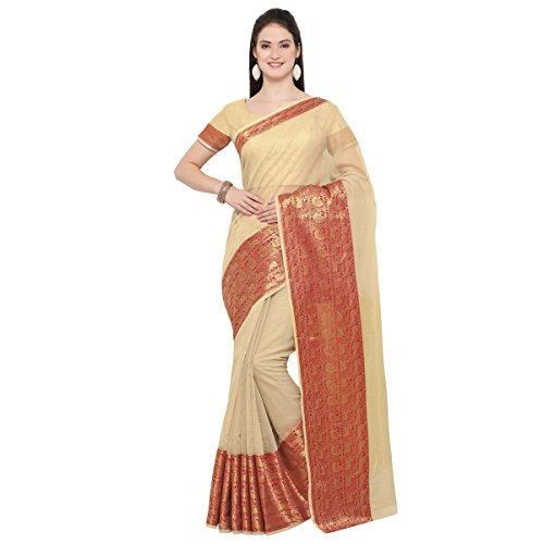 Triveni Womens Poly Cotton Woven Festival Beige Colour saree with Blouse -PTSNNP4603