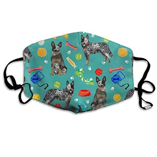 Australisches Rinderspielzeug - Hundespielzeug, Hundespielzeug, Rassen, Rinderhund, Heeler - Blaugrün, Anti-Staub-Maske gegen Verschmutzungen, waschbar, wiederverwendbare Mundmasken (Hund Kostüm Bane)