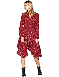 55d0bc2b7121 Debenhams Nine by Savannah Miller Red Star and Moon Print Long Sleeve High  Low Dress 18