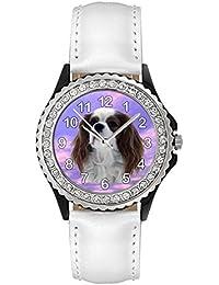 Cavalier King Charles Spaniel Reloj del cuero para mujer con piedrecillas