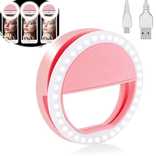 Yojoloin Selfie Ring Light para Cualquier teléfono Celular [Recargable] [4 Modo 36 Led Selfie Ring Light para iPhone iPad Clip en fotografía de cámara (Rosa)
