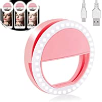 Yojoloin Selfie Ring Light para Cualquier teléfono Celular [Recargable] [4 Modo 36 Led Selfie Ring Light para iPhone iPad Clip en fotografía de cámara (Rosa)