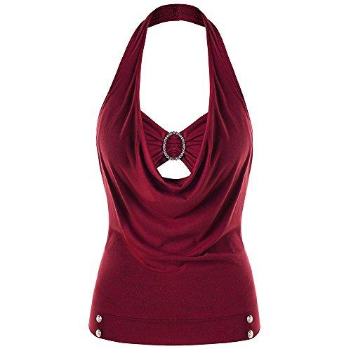 Débardeur Décontractée de Casual T-Shrit Licou Orné sans Manches T-Shrit Couleur Uni Femme Filles Halter Neck de Sport Rouge