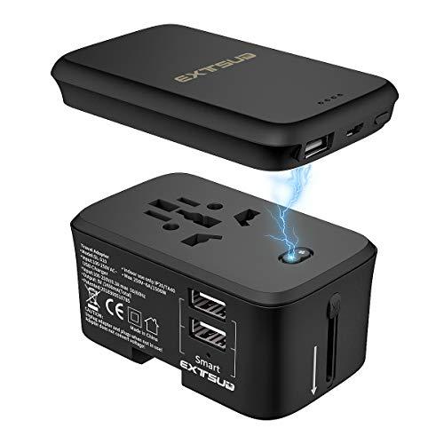 Universal Power Bank (Universal Reiseadapter mit 5000mAh Power Bank|EXTSUD Reisestecker mit 2 USB Ports Ladegerät|Sicherheit AC Steckdose für Weltweit Reisen in UK,EU,AU,Asien Über 170 Ländern|MEHRWEG)