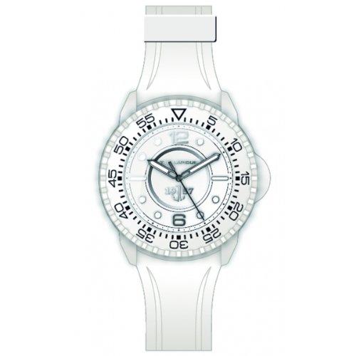 Ted Lapidus 5123204 - Reloj analógico de cuarzo para hombre con correa de caucho, color blanco