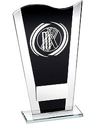 jr6-td826s negro/plata estampado–Placa de cristal con espiral de plata Cricket trofeo–6,5en incluye grabado gratis (hasta 30caracteres)