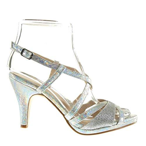 Angkorly Damen Schuhe Sandalen Pumpe - Sexy - Schlangenhaut - String Tanga - Glänzende Trichterabsatz 9 cm Silber