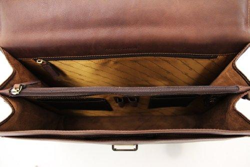 Cartella Arizona Gérard Henon pelle di vacchetta grassi pieno fiore 2 alette GH 5226 Marrone (marrone)