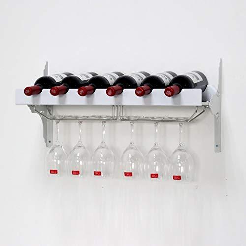JBFZDS Weinregal Zur Wandmontage, Weinregal Zur Wandmontage, Schwarz/Weiß, Fassungsvermögen for 6 Flaschen Wein, 6 Becher Zum Aufhängen, Kreative Personalisierte Weinregaldekoration, Bar, Restaurant