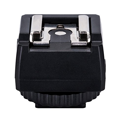 JJC Blitz Standard Blitzschuh Adapter Hot Shoe Mount Adapter für zusätzliche Externe blitzerzeugung Studio Lampe oder andere Zubehör mit extra PC Sync Anschluss & 3,5mm Mini Phone Anschluss Port Flash Hot Shoe Sync