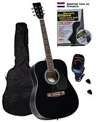 Clifton Western Gitarren Set, Black, Rosewood Griffbrett und Brücke, Lernbuch, Karaoke-CD, gepolsterte Tasche, Clip Tuner Stimmgerät, 2 Stück Plectren