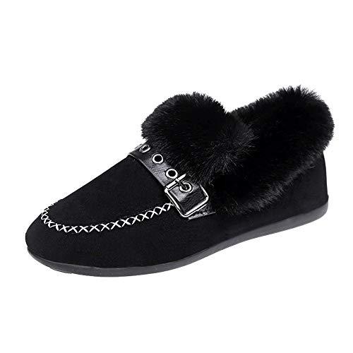 Oliviavan Damen Schuhe Schwangere Loafers Casual Business Schuh Flach Wolle Runder Kopf mit flachem Boden und weiblichen Stiefeletten aus Samt