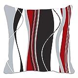 gewellt vertikalen Streifen rot schwarz weiß und grau Kissen Bezug für Wohnzimmer, Sofa, etc.
