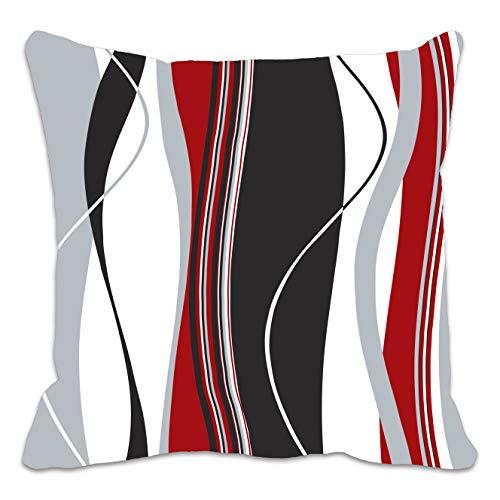 Funda de cojín con estampado de rayas onduladas rojas, negras, blancas y grises; ideal para el salón...