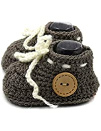 Magic Needles Autumn Winter Woolen Handmade Turkish Yarn Hand Knit Crochet Baby Ankle Boots (0-3 mths Toe to Heel 10 cms, 4157 Baby Boys Light Brown)