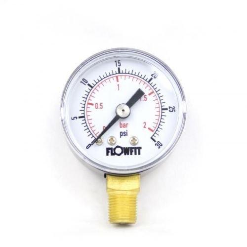 Trocken-/Pneumatikmanometer, Druckmesser, 40 mm, 0–30 psi (2 Bar), 0,32 cm großer BSPT (British Standard Pipe Taper) Anschluss von unten