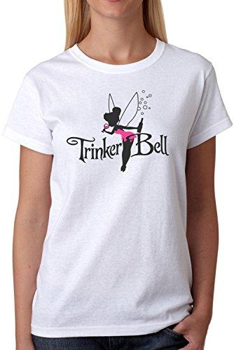 ex Fun T-Shirt Trinkerbell Märchen Fee Parodie Plus Geschenkkarte, Größe:L, Farbe:Weiß/Schwarz (Frauen Weihnachten Kostüme)