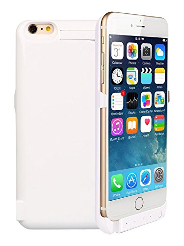 "Stoga, Custodia con batteria integrata, custodia ricaricabile, 4800 mAh, power bank per iPhone 6 Plus da 5,5"" pollici + supporto verticale + batteria ricaricabile + custodia protettiva + indicatori LE 5800mAh iPhone 6 charger case/White"