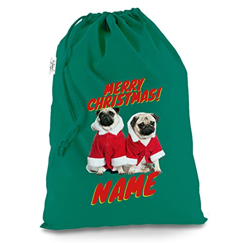 Für Möpse Kostüm - personalisierbar Santa Kostüm Möpse X-Large Grün Luxus Weihnachten Santa Sack