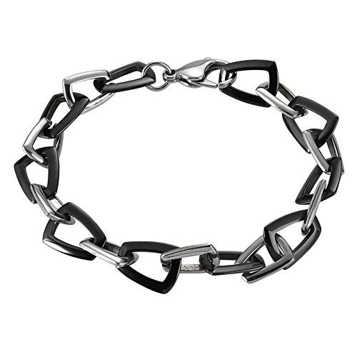 Aooaz Schmuck Herren Armband Edelstahl Magnetarmband Trapez Silber Schwarz Armband,Länge 22CM
