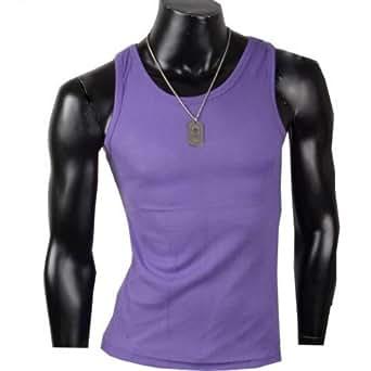 Herren Tanktop Tank top Muskelshirt Fitness T shirt Achselshirt (L, Lila)