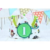 Corona de tela para cumpleaños piratas verde