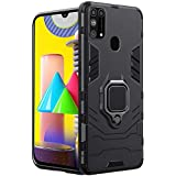 TheGiftKart Tough Armor Bumper Back Case Cover for Samsung Galaxy M31 Prime / F41 / M31 | Ring Holder & Kickstand in-Built | Excellent 360 Degree Protection (Carbon Black)